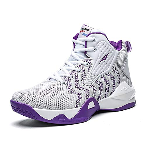 WELRUNG Women's Men's High Top Lightweight Fly-Weaving Running Jogging Sneakers Basketball Shoes for Youth Size 8/6.5 White Purple