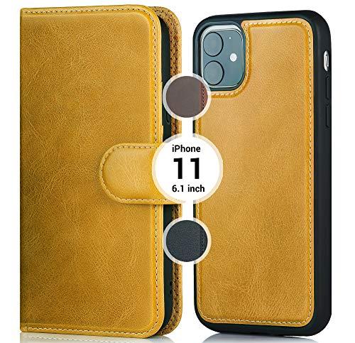 Anklav - iPhone 11 6,1 inch Leren Portemonnee Case - Echte Flip Case, 3 Kaarthouder & Cash met Kickstand Functie - Magnetische Clip Sluiting & Premium Afneembare Harde Kaft - Cognac Bruin
