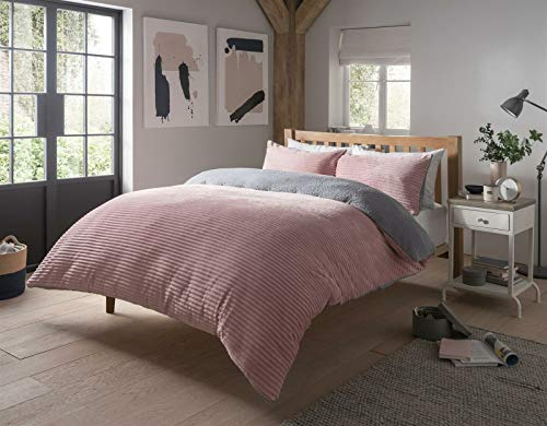 QM-Bedding RIBBED Stripe Xmas Festival SHERPA TEDDY FLEECE Stylish Duvet Quilt Cover Set LW (Blush Pink, Double)