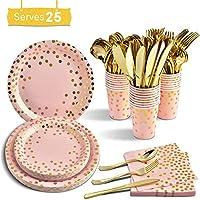 使い捨てのピンクパーティー用品、25セットエコフレンドリーなディナーウェアキットには、紙皿とナプキンカップセットが含まれます誕生日パーティーの卒業式の結婚式のための金のプラスチックナイフフォークスプー