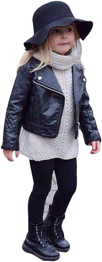 HINK Abrigo y Chaqueta para ni/ñas Oto/ño Invierno Ni/ña Ni/ño Ni/ños Beb/é Outwear Abrigo de Cuero Chaqueta Corta Ropa