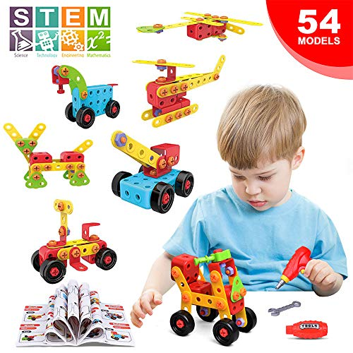 LUKAT STEM Learning Toys, Building Blocks for Kids Construction Toys Screw Puzzle Creative Educational Building Kit, 288 Pieces With Storage Box for Boys & Girls 3+ years old DIY Engineer Kits