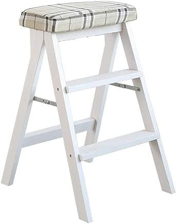 Wtbew-u Step Stool Dual Purpose  Folding Step Ladder Steps Wooden Stairway Chair -150kg Capacity