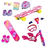 Beverly Hills Complete 18' Doll 12 Piece Sports Set, for Skating, Snow Boarding and Riding Fun Includes an Adorable Hot Pink Skateboard, Snowboard, Scooter, and Accessories, Doll Not Included