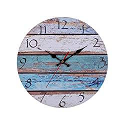 12 Inch Wall Clock, Silent Non-Ticking Wooden Wall Clock, Home Decor Vintage Round Arabic Numerals Wall Clock, Battery Operated Home Office Wall Clock Wall Decoration(Coastal Worn Blue)