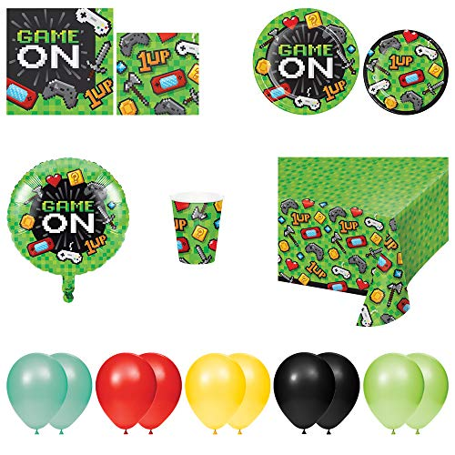 Video Game Game on Disposable Plates, Napkins, Cups, Tablecloth, Foil Balloon, and Balloons – Party Theme 8pc Party Pack
