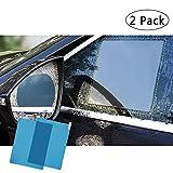 FMS 2 PCS Rectángulo Película de espejo retrovisor impermeable para coche resistente a la lluvia, antivaho, antiarañazos, impermeable película de cristal lateral (Rectángulo*2)