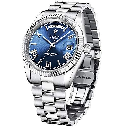 Orologi meccanici automatici CADISEN Day-Date Homage, movimento MIYOTA 8285, vetro zaffiro, orologi da lavoro in acciaio inox
