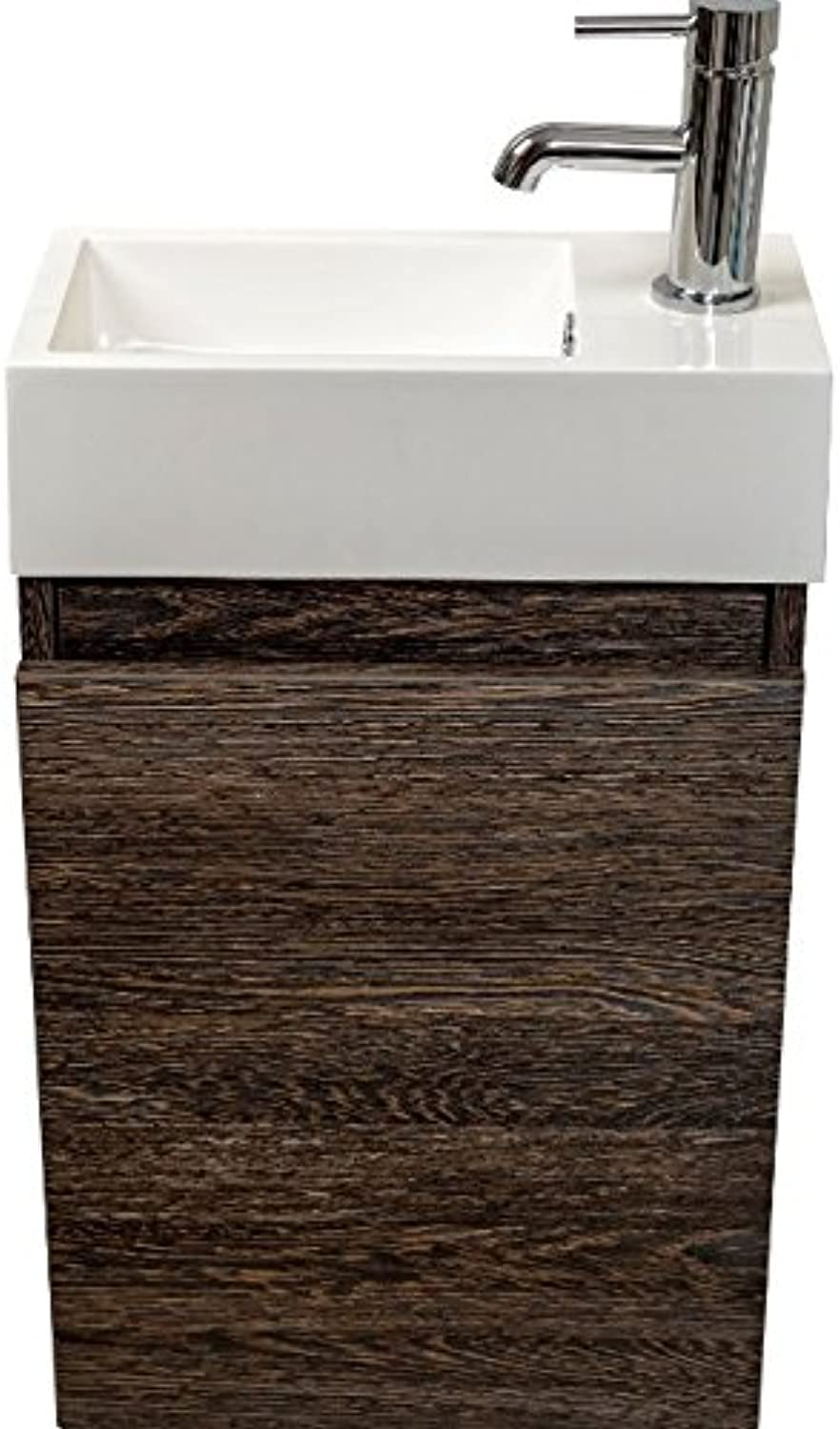 Luxurious Bathroom Vanity Unit - Available In 2 Elegant Finishes - Includes Composite Resin Basin - Soft Close Drawer (Dark Oak)