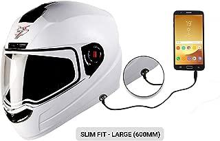 Steelbird SBA-1 7Wings HF Dashing Full Face Helmet with Plain Visor and Detachable Handsfree Device (LARGE 600 MM SLIM FIT, WHITE)
