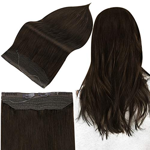 Full Shine Halo Extensions Human Hair Hidden Crown Hair Extensions For Women 80 Grams Invisible Fish Wire Hair Dark Brown 2 Adjustable Width Fit Head Size Perfectly 20 Inch
