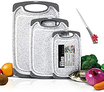 3-Pieces Mastertop Marble Pattern Premium Plastic BPA-Free Cutting Board