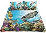HSBZLH Microfibra Juego Fundas Edredón Juego Sábanas Funda Nórdica Peces Colores Carey Flota Bajo El Agua Arrecifes Coral Tema del Medio Ambiente Acuático Juego Cama Microfibra Suave