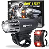 BLITZU Bike Lights for Night Riding LED Bicycle Light Front and Back Set. Bike Accessories for Adult. Headlight, Rear Taillight for Kids, Men, Women, Cycling, Road, Mountain. Rechargeable Reflectors.