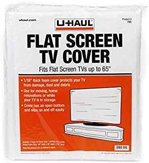 """U-Haul Foam Flat Screen TV Cover (Fits Screens up to 65"""") - 36"""" x 65"""" - TV Protection During a Move, Storage, or Renovation"""
