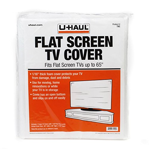"U-Haul Foam Flat Screen TV Cover (Fits Screens up to 65"") - 36"" x 65"" - TV Protection During a Move, Storage, or Renovation"