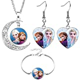 BESLIME Silver Jewellery Sets, Accessories For Girls Includes Charm Bracelet Necklace and Earrings, Princess Necklaces, Earring and Bracelets Gifts For Girls, 3pcs