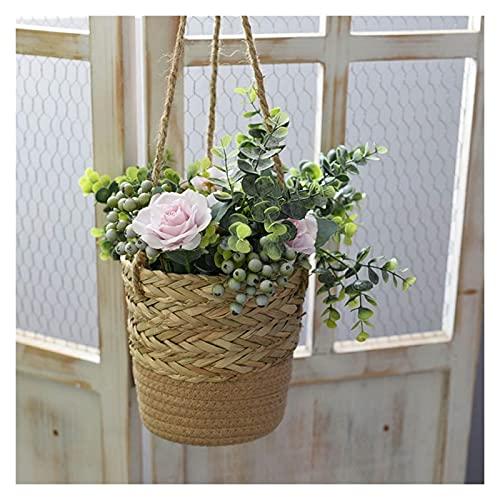 OMYLFQ Vases Hanging Planter Basket Wall Handmade Woven Flower Plant Pots Display Flowers For Home Bedroom Living Room Garden Decoration Flower Vase