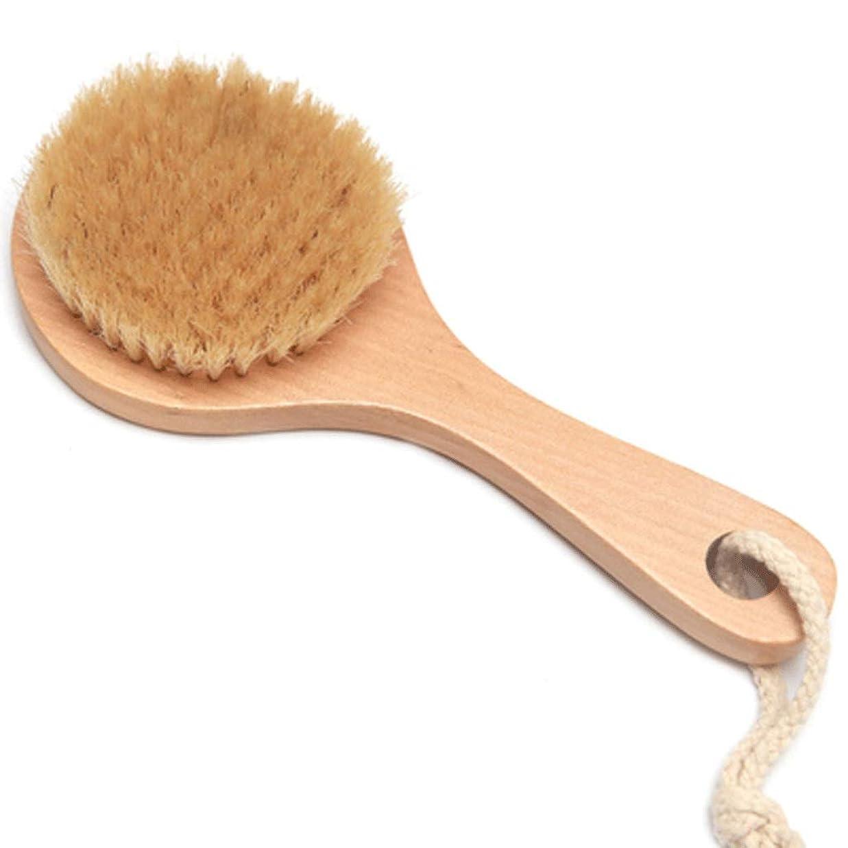 事教育者一月バスブラシバックブラシロングハンドルやわらかい毛髪バスブラシバスブラシ角質除去クリーニングブラシ (Color : Wood color, Size : 20*7.5cm)