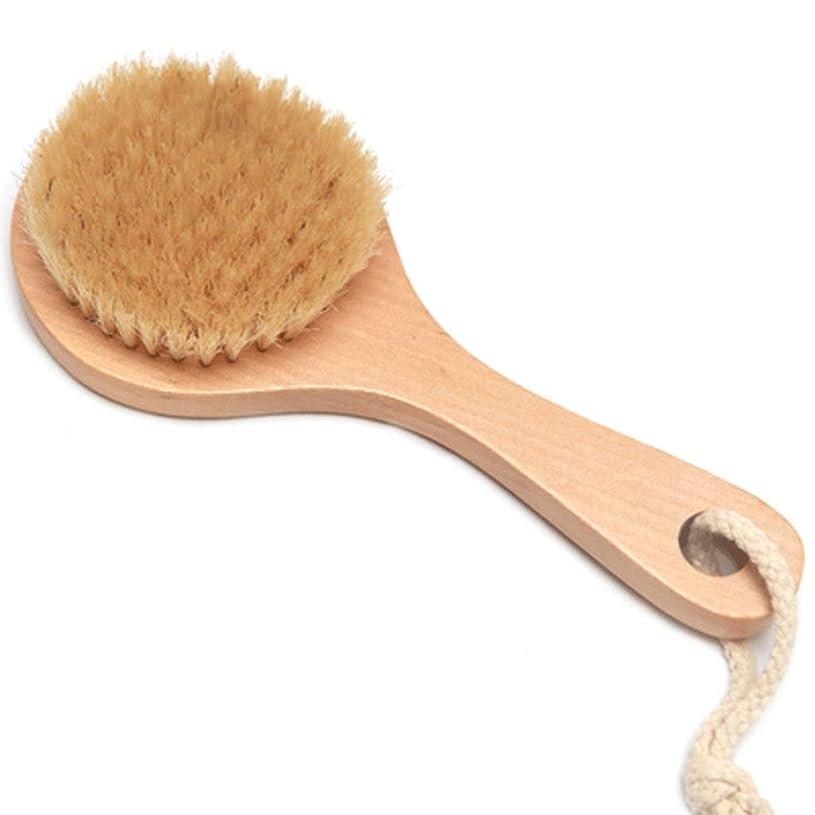 有能な塩埋め込むバスブラシバックブラシロングハンドルやわらかい毛髪バスブラシバスブラシ角質除去クリーニングブラシ (Color : Wood color, Size : 20*7.5cm)