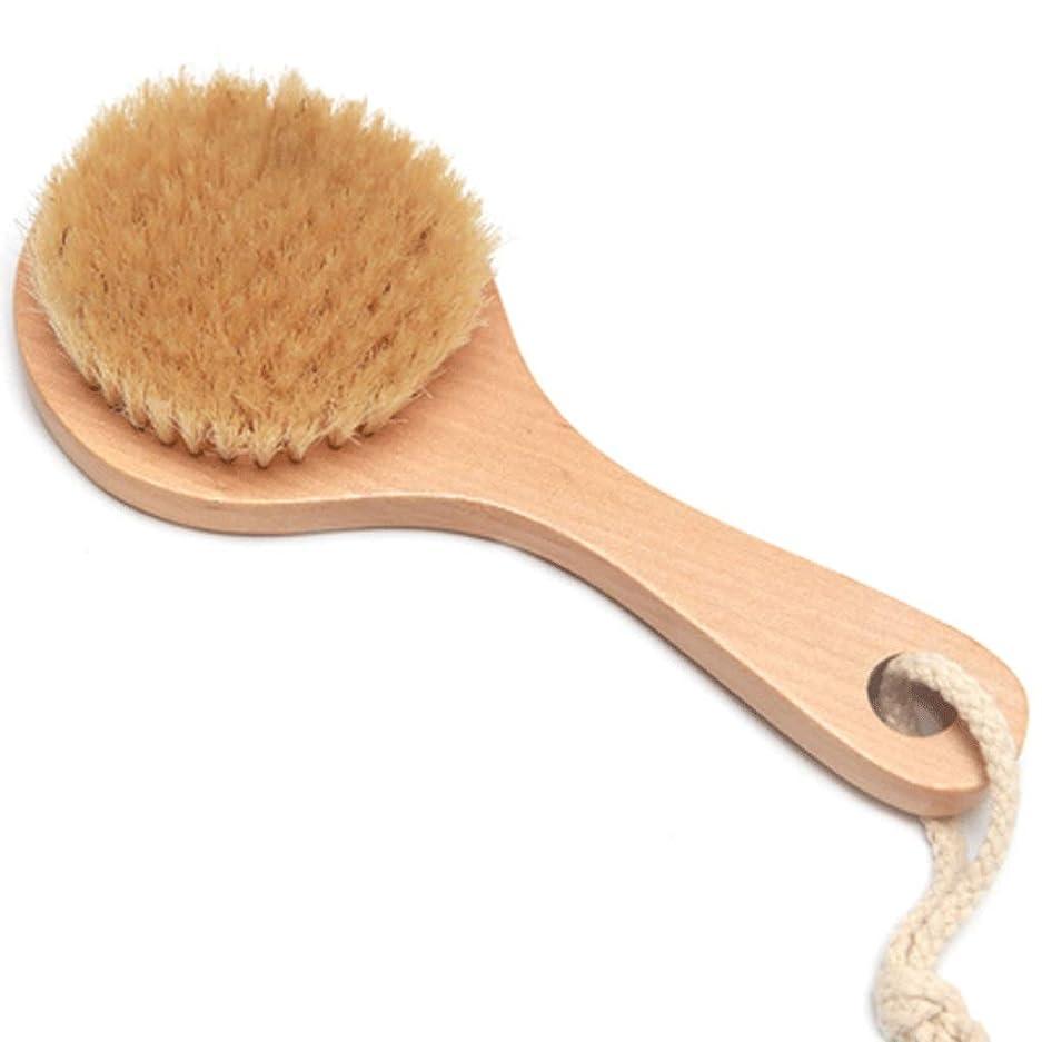 分離期待ガソリンバスブラシバックブラシロングハンドルやわらかい毛髪バスブラシバスブラシ角質除去クリーニングブラシ (Color : Wood color, Size : 20*7.5cm)