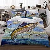 HATESAH Funda De Edredón,Marlin Azul Marlines Atún Pequeño Bonito Pescado Terry Fox,3 Pcs Ropa de Cama Funda Nórdica Sábana Bajera (220 * 240CM)