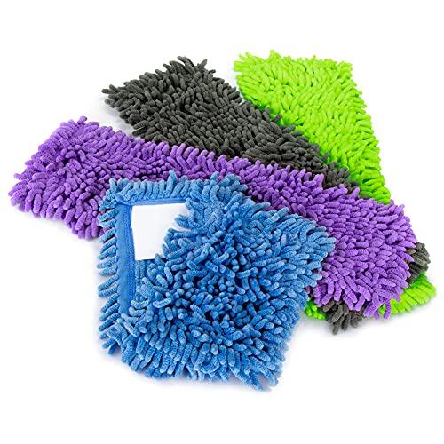 com-four® 4X Ersatz-Bezug für Bodenwischer, Wischbezug aus Microfaser Chenille zur gründlichen Reinigung Ihrer Wohnfläche (04 Stück - blau/grau/lila/grün)
