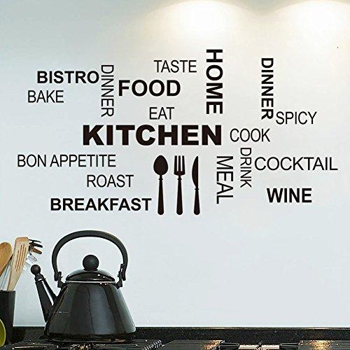 ZRDMN Wall Sticker Wall Mount Cucina Elettrodomestici Kitchencook inglese, 58 * 30Cm adesivo in pvc può rimuovere l'arte murales per la camera da letto soggiorno Ufficio Famiglia Nursery Bagno Cucina