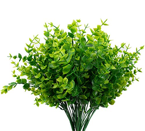 Ruiuzi - Ramas de eucalipto Artificial en espray de Hojas de eucalipto de Plata Falsa en Color Verde Polvo para Fiestas temáticas de Bodas y Selvas, Grenn, 4pack