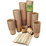 200 vasos desechables café kraft de 120 ml, vasos de cartón kraft desechables con paletinas de madera para café. Para bebidas frías y calientes.