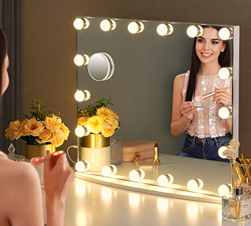 LUXFURNI Vanity Mirror with Makeup Lights, Large Hollywood Light up Mirrors w/ 18 LED Bulbs for Bedroom Talbetop & Wall Mounted, White