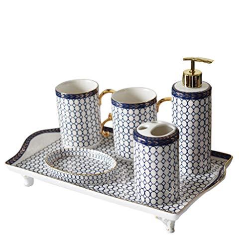 Soap Dispensers Ceramic Bathroom Set, Liquid Soap or Lotion Dispenser Pump Toothbrush Holder Tumbler And Soap Dish 6-Piece Set Ideas Home Gift (Color : C)