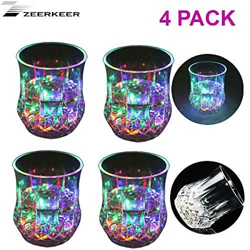 Zeerkeer Tasses en Verre avec Changeur de Couleurs avec LED 5 Lumières LED Plexiglas Acrylique Non Fragile Matériel de PC de Texture de Marbre Imperméable (4PCS)
