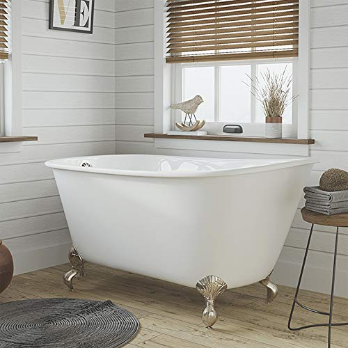 54' Cast Iron Swedish Tub with NO Faucet Holes & Brushed Nickel Feet-...