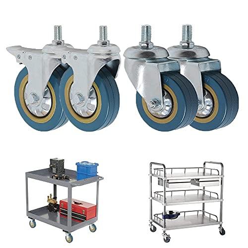 Ruedas Ruedas de ruedas giratorias giratorias de 3/4 pulgadas Caster pesado con M10 / 12x30mm Tallo roscado Sin ruedas de ruido para carritos Equipo de mesa de trabajo Reemplazo de ruedas giratorias d