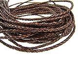 esnado Cordón de piel redondo trenzado, 4 mm, marrón oscuro, 3 m,...
