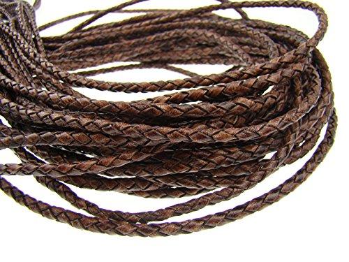 esnado Cordón de piel redondo trenzado, 4 mm, marrón oscuro, 3 m, longitud a elegir