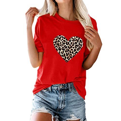Tops para Mujer Blusas de Cuello Redondo Bloque de Color Patrón de corazón Túnicas Camiseta de Manga Corta con Estampado de Verano Leopardo Camiseta básica de Cuello Redondo con Estampado de Leopardo