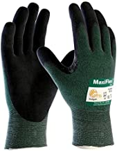 ATG MAXIFLEX CUT 34-8743/XL Cut Resistant Nitrile Coated Work Gloves with Green Knit Shell and Premium Nitrile Coated Micro-Foam Grip on Palm & Fingers XTRA LARGE (ONE DOZEN)