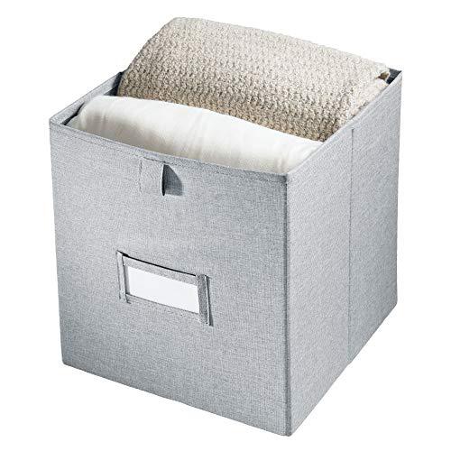 iDesign 07463EU Codi boîte poignée, bac de Rangement carré en Polyester, Gris, 26,7 cm x 27,9 cm