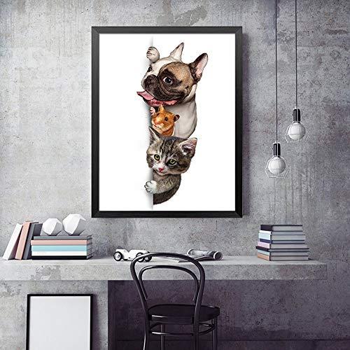 sanzangtang Tier Hund Katze Maus Kinder Poster und Drucke Druck auf Leinwand Wandbild Malerei Wohnzimmer Wohnaccessoires Rahmenlos 50x75cm
