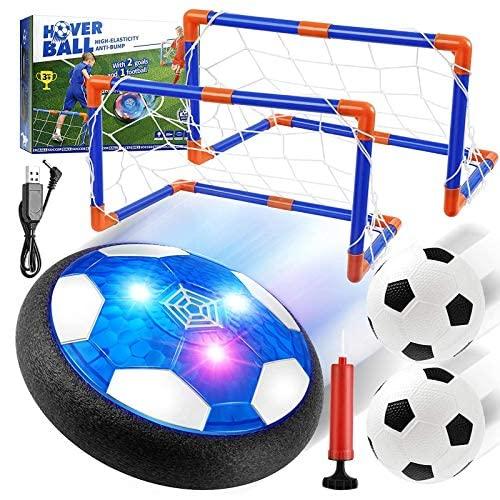 EXTSUD Air Power Fußball Kinderspielzeug, Hover Soccer Ball LED-Licht Fussball mit Fußballtore+Luftpumpe+2er Aufblasbaren Fußball Geschenke für Junge Mädchen Spiel Sport Indoor Outdoor