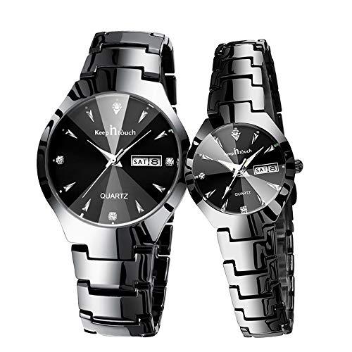 Pareja Relojes Cuarzo Hombres Mujeres Reloj de Pulsera Redondo 30M Impermeable Reloj de Calendario de Diamantes de imitación para Pareja Hombres Mujeres Acero Inoxidable Juego de 2
