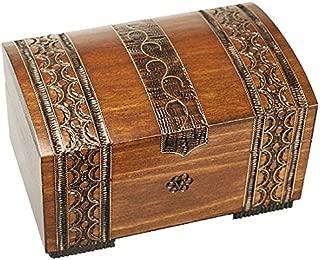 Polish Handmade Wooden Brass Clad Chest Jewelry Keepsake Box w/Lock and Key