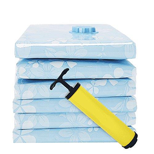 QFFL Sac de compression sous vide Bleu transparent/épaississement sac de compression sous vide/multiple tailles sac de compression de courtepointe/vêtements de voyage trier le sac (un paquet de
