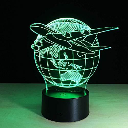 Flying Earth Plane 3D Night Light Led Lamp 7 changement de couleur tactile USB Table cadeau enfants jouets chambre décor Noël Saint Valentin cadeau cadeau d'anniversaire