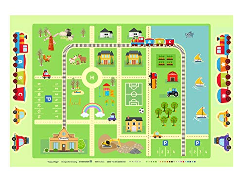 KiefernGrün Happy Village Stoff als Panel für Babies und Kinder Spieldecke Krabbeldecke Wandteppich 145cm x 100cm Baumwollstoff zum selber Nähen, Öko-Tex 100 zertifiziert 270g/qm