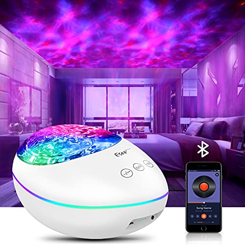 Galaxy Projector Night Light With Remote Control/White Noise Music /Bluetooth Speaker, LED Light 8 Colors Changing Ocean Wave light Projector For Kid &Adults Bedroom /Home Decor/Birthday Party (White)