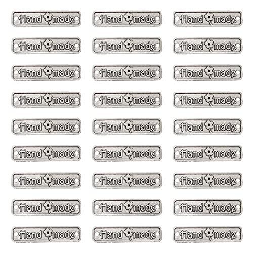 Aabellay 60 piezas de aleación de metal hecho a mano metal etiquetas hechas a mano colgante de cuentas para hacer joyas, manualidades, hallazgos de regalo – 25 x 6 mm – Rectángulo plata