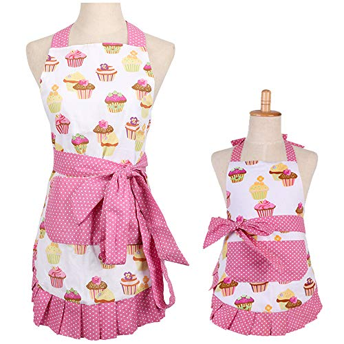 G2PLUS Apron for Women with Pockets, Extra Long Ties Cotton Apron Perfect for Kitchen Cooking, Baking and Gardening, 29 x 21-inch (Mama and Me Set)